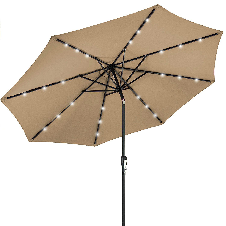 best solar patio umbrellas and umbrella lights ledwatcher. Black Bedroom Furniture Sets. Home Design Ideas