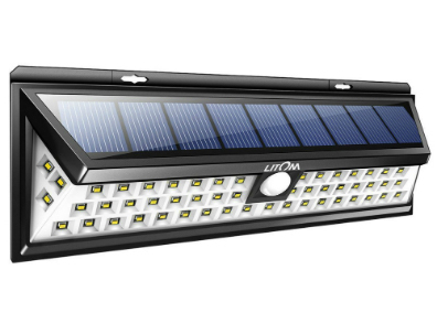 Larger And Brighter Than Our Top Pick, This Fixture Features 54 LED Diodes,  8 Watt Solar Panel, Passive Infra Red PIR Sensor And A Lithium Ion Battery.