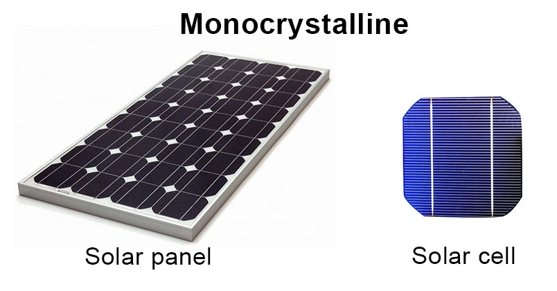 Monocrystalline solar panel and cell