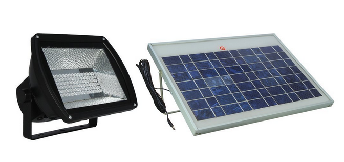 solar illuminations flood light with polycrystalline solar panel
