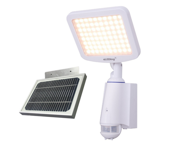 Lithium-ion battery powered solar flood light