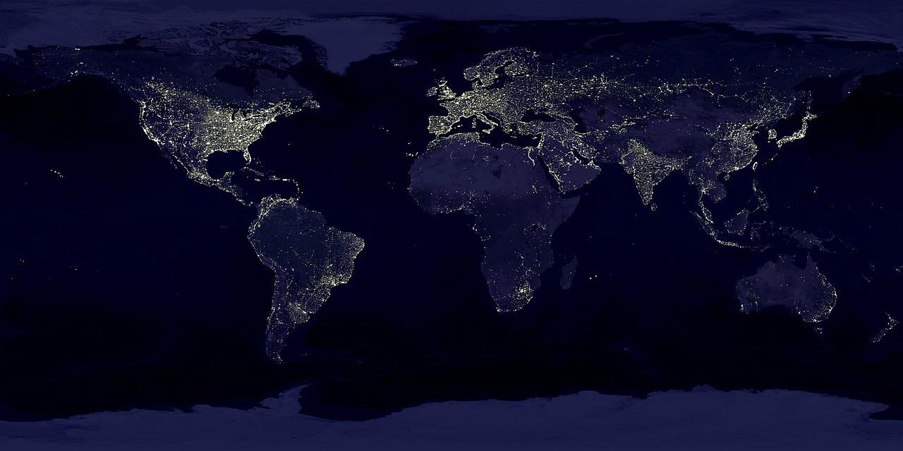 Lights shining on Earth